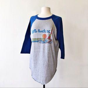 Vintage Tops - Vintage 80's Myrtle Beach 3/4 Sleeve Baseball Tee